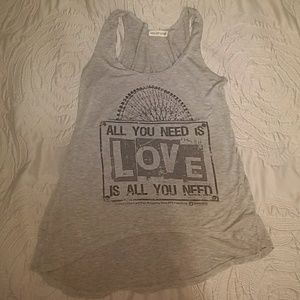 Tops - All You Need Is Love flowing, casual graphic Tank